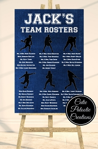 Sports Team Roster Table Seating Chart | Choose Your Sports