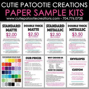 Sample Paper Kit  - Includes our Papers, Color Chart and Envelopes - PLEASE READ DESCRIPTION BELOW