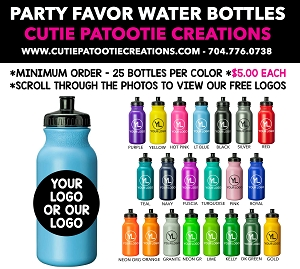 Party Favor Plastic Water Bottle Personalized with Logo for Mitzvahs and Weddings - See Description for More Info