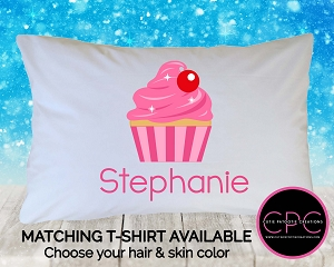 Personalized Pink Cupcake Pillowcase