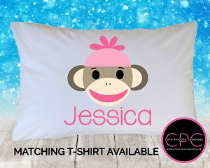 Personalized Pink Sock Monkey Pillowcase