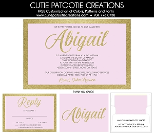 Baby Pink and Gold Bat Mitzvah Invitations | Custom Colors Available | Cutie Patootie Creations