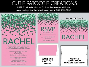 Pink and Green Confetti Bat Mitzvah Invitations | Custom Colors Available