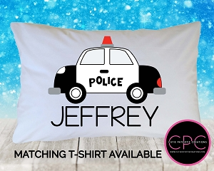 Personalized Black and White Police Car Pillowcase