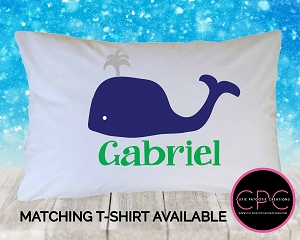 Personalized Preppy Whale Pillowcase - Custom Pillow Case for Kids
