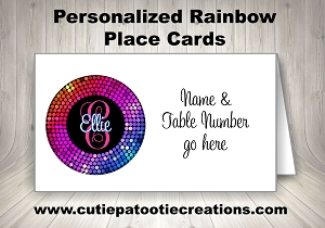 Rainbow Confetti Personalized Place Cards