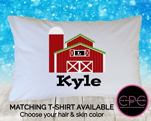 Personalized Red Farm Pillowcase