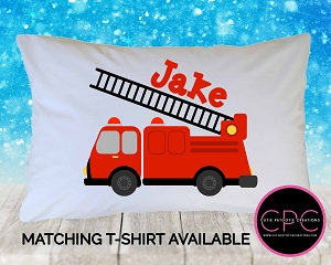 Personalized Red Firetruck Pillowcase