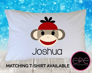 Personalized Red Sock Monkey Pillowcase