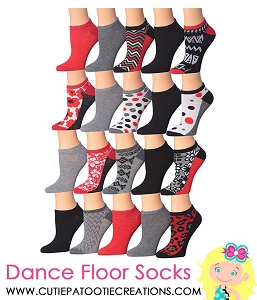 Mitzvah Socks - Red, Black and White - Ankle No Show