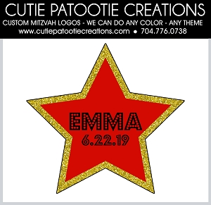 Hollywood Star Mitzvah Logo - Red, Gold and Black - Custom Colors Available
