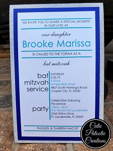 Royal Blue and Silver Glitter Bat Mitzvah Invitations - Custom Colors Available