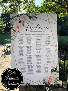 Table Seating Chart for Mitzvah or Wedding
