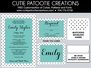 Tiffany Blue, Black & White Polka Dots Bat Mitzvah Invitations | Custom Colors Available