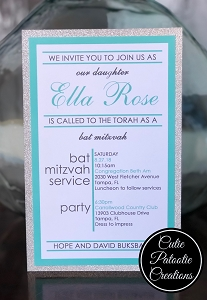 Tiffany Blue and Silver Glitter Bat Mitzvah Invitations | Custom Colors Available