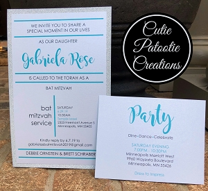Tiffany Blue with Silver Glitter Bat Mitzvah Invitation Suite | Custom Colors Available