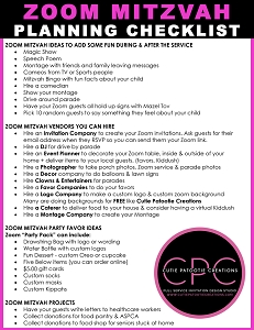 ZOOM Mitzvah Planning Checklist by Cutie Patootie Creations