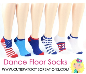 Red, White and Blue Dance Floor Mitzvah Socks