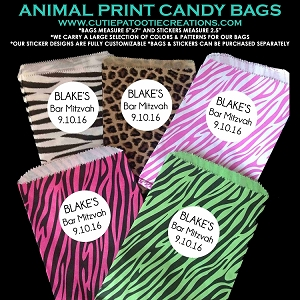 Candy Station Candy Buffet Bags Leopard and Zebra Prints with Customizable Stickers