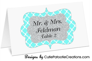 Aqua Blue and Silver Glitter Pattern Personalized Place Cards