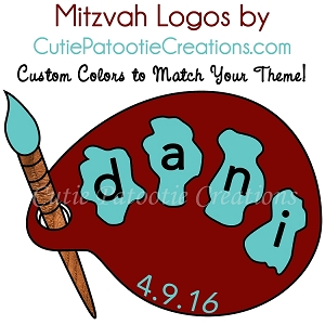 Paint Palette Logo for an Art Themed Bat or Bar Mitzvah - CHOOSE YOUR COLORS