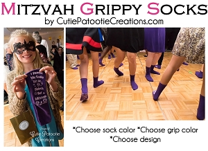 Bar and Bat Mitzvah Non Skid Grippy Grip Socks - MINIMUM 48