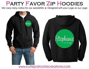 Bar & Bat Mitzvah ZIP UP Hoodie Sweatshirt with your Logo or Ours - LOW MINIMUMS