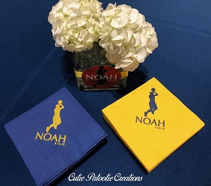 Personalized Napkins - Basketball Theme - University of Michigan Colors