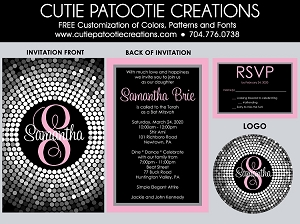 Baby Pink and Black Confetti Circle Dots Bat Mitzvah Invitations | Custom Colors Available