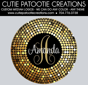Confetti Circle Dots Bat Mitzvah Logo - Gold and Black