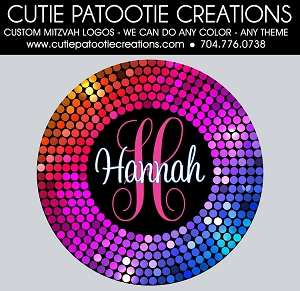 Confetti Circle Dots Bat Mitzvah Logo - Rainbow