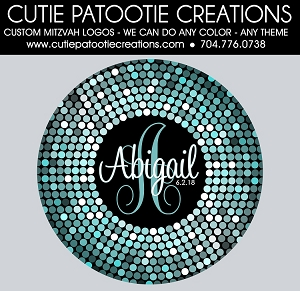 Confetti Circle Dots Bat Mitzvah Logo - Tiffany Blue and Black