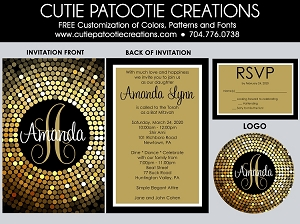 Confetti Circle Dots Bat Mitzvah Invitations - Gold and Black