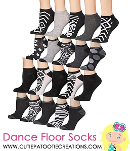 Black and White Dance Floor Socks for Bar & Bat Mitzvahs, Sweet 16's and Quinceanera's