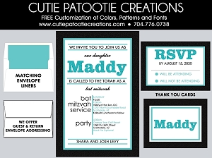 Teal, Aqua Blue and White Bat Mitzvah Invitations - Custom Colors Available