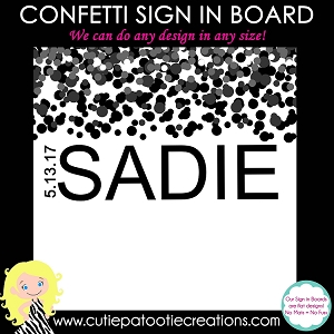 Black Confetti Bat Mitzvah Sign in Board or Sign in Pillow - Custom Colors Available
