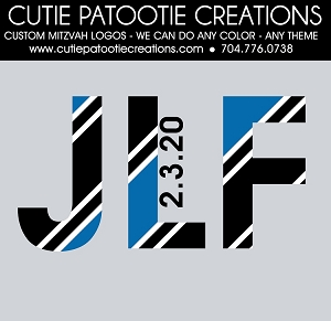Blue, Black and White Monogram Initials Bar Mitzvah Logo - Custom Colors Available