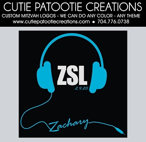 Headphones Bar Mitzvah Logo - CUSTOM COLORS Available