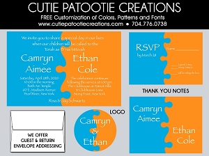 Blue Orange Jigsaw Puzzle B'nai Mitzvah Invitation - Custom Colors Available