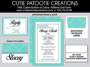Tiffany Blue Bat Mitzvah Invitations - Custom Colors Available