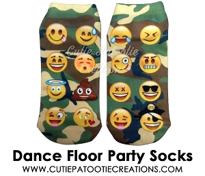 Camo Pattern with Emoji's Dance Floor Party Socks for Bar Mitzvah, Bat Mitzvah - Ankle Socks