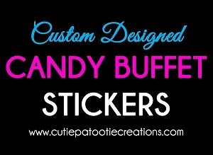 Personalized Stickers for your Candy Bar - We can personalize with text or your logo