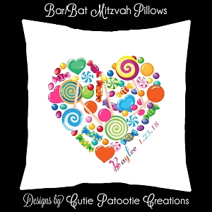 Candy Heart Bat Mitzvah Sign in Board or Sign in Pillow