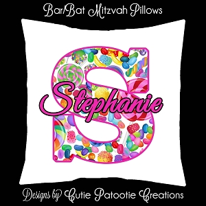 Candy Theme Bat Mitzvah Sign in Board or Sign in Pillow - Custom Colors Available