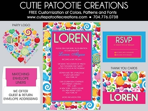 Rainbow Candyland Bat Mitzvah Invitation | Custom Colors Available