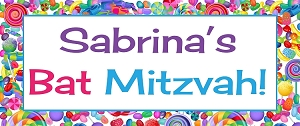 Candy Theme Vinyl Banner and Sign for Candy Bar or Event Decor - Custom Colors Available
