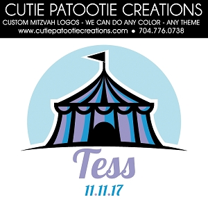 Carnival Circus Bar or Bat Mitzvah Logo - Custom Colors Available