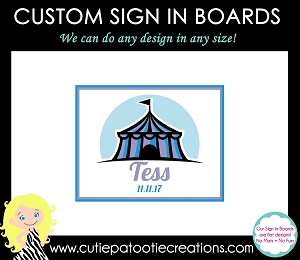 Circus Carnival Theme Bat Mitzvah Sign in Board or Sign in Pillow - Custom Colors Available