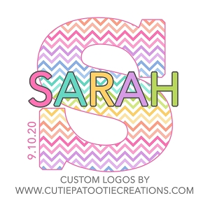 Chevron Rainbow Bat Mitzvah Logo with Monogram Name and Date