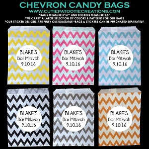 Candy Station Candy Buffet Bags in Chevron Patterns with Customizable Stickers